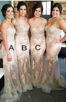 Wholesale 2015 Romantic Sexy Lace Beaded Sheer Long Bridesmaid Dresses For Wedding See through Maid of Honor Gowns Mermaid Wedding Party Gowns