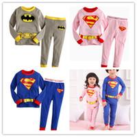 Wholesale boys girls Batman super man set spring children s clothing full pants shirts suit kids clothes Pajamas sets hot casual