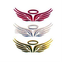Wholesale Angel Wing D car sticker Chrome Badge Emblem Decal colors available New D Angel Fairy Wings Car Decal Sticker