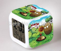 Wholesale 2015 new Plants vs zombies LCD Colors Alarm Clock Calendar Thermometer Backlight Colorful Alarm Clock