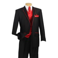 bespoke ties - 2016 Custom Made Black Suits With Red Edge For Collar And Red Vest Bespoke Wedding Groom Suit Jacket Pants Vest Tie