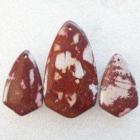 australian gemstone - New Natural Set Australian Picture Jasper Triangle Gemstone Jewelry Pendants Beads Sets for Necklaces Making