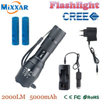 Wholesale zk30 CREE XM L T6 Lumens LED Flashlight LED Adjustable High Power Torch Light For xAAA or Battery Battery Charger