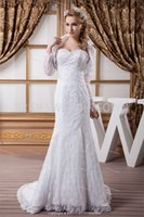 Wholesale Church Mermaid Trumpet Beading Sweetheart Off the Shoulder Zipper Back Chapel Train Wedding Dresses