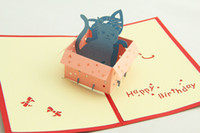 Valentine's Day Festivals greenfox Greenfox Birthday card little cat box Invitations Delicacy Gift Handmade Creative 3D Cards Pop UP Gift Free Shipping 3DHK035