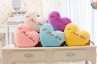 Wholesale Heart shaped colorful dream luminous pillow creative plush music luminous pillow cute plush toys Valentine s Day gift