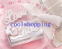 Wholesale DHL Freeshipping quot Words of Love quot Silver Finish Bookmark with Elegant White Silk Tassel Wedding favor and gift
