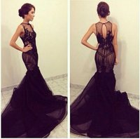 Wholesale O Neck Black Applique Lace Sheer See Through Cathedral Train Vestidos de Renda Prom Dresses Evening Gown a218