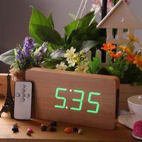 Wholesale DC6V Creative Remote Control Alarm LED Digital Wood Wooden Clock Temperature Display Voice Sound Activated Perpetual Calendar