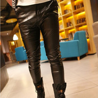 Wholesale 2014 Nightclubs Fashion Mens Full Length Leather Pants Joggers Hip Hop Sport Pants Best Quality Top Designer PU Trousers For Men