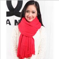 big red scarf - Cheap Designer Plain Acrylic Tassel Scarfs For Women Neck Warmer Ladies Blank Big Long Scarves Red Yellow Black Pink Solid Color Gift Sale