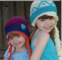 Wholesale New Crochet Elsa Anna Hat Frozen winter Hat for Kids Girl Size for T FREESHIPPING