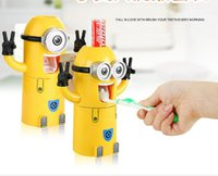 Wholesale household products Cute minions toothbrush toothpaste holder bathroom set Automatic Toothpaste Dispenser Squeezer bathroom accessories