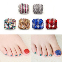 Wholesale Fashion Luxury D Alloy Toe Nail Art Decor Colorful Glitter Rhinestone Full Cover Fake Toenails DIY Manicure Tools PK0033 Kevinstyle