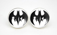 batman earrings studs - 10pairs Batman Logo Comic Earring stud white and black style Glass cabochon earrings