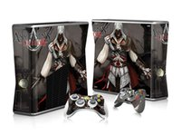 achat en gros de assassins xbox croyance-Refroidir Assassins Creed Xbox 360 Stickers Skin Slim Vinyle protection Decal 1 Console Skin + 2 Pcs Controller gratuit Covers Shiping libre