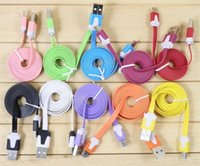 Wholesale 1M New cable micro USB Sync Data Charging Charger Cable Flat Noodle Colorful Cords for Samsung HTC Android Mobile Cell Phone Universal Best
