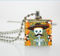 aa platinum - Sugar Skull Necklace Sugar Skull with Mustache Mexican Day of the Dead Jewelry Scrabble Tile Pendant AA