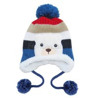 Wholesale Baby Warm Hat Colorful Stripe Pattern Cartoon Bear Design Thicken Kids Winter Hat Crochet Cap B22