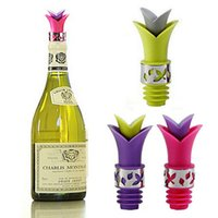 Wholesale 2015 Newest Wine Bottle Stoppers Silicone Approved Food Grade Durable Wine pourer Bar Tools Colors