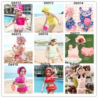 bathing caps with flowers - Little girls hot spring swimsuit sweet big flowers pink children bathing suit bikini sandbeach swimwear for kids with swimming cap D6972