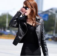 Precio de Leather jackets-2015 Nuevas Mujeres Chaquetas de primavera, de otoño de la moda breve párrafo de negro pequeño abrigo casual de cuero de la pu de las chaquetas de manga larga de las Mujeres abrigos de Ropa