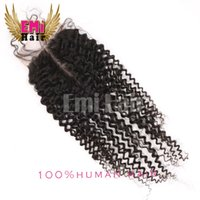 Wholesale Brazilian Virgin Human Hair Closures Kinky Curly Lace Top Closure Middle Way Free Part Bleached Knots
