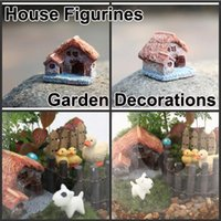 Wholesale Resin Cute Tiny House Figurines Garden Bonsai Terrarium Home Decorations DIY Ornaments for flower pots Christmas Gift Micro Landscape E362L