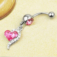 Wholesale 1pcs Rhinestone Crystal Heart Barbells Navel Belly Bar Button Ring Body Piercing C