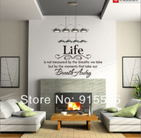 Wholesale Dropshipping English Vinyl Wall Decals quot Life Breath Away quot Waterpoof Wall Stickers Words Home Decor size cm