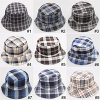 Wholesale canvas grid hats summer sun hats men and women Beach hat joker fisherman caps Travel be prepared color can choose