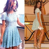 china prom dresses - 2015 Prom Dresses with Sleeves New Arrival Crew A line Short Mini Lace Party Dresses Cheap Mini Party Dresses China Modest Prom Dresses