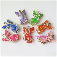 achat en gros de pendentifs de fées acryliques-Livraison gratuite 10 Ange Nouveau Fée Charms Acrylique Pendentifs mixtes 25.5x39mm