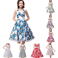 Cheap Cheap Vintage Printed Party Dresses 2016 Sexy Halter Sweetheart A Line Homecoming Prom Cocktail Dresses Knee Length Women Clothing CPS286
