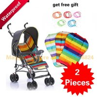 Wholesale 2Pcs Bright Rainbow Colors Good Quality Cheap Price Baby Car Seat Dining Chair Mat Waterproof Stroller Mat A5