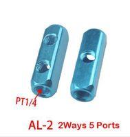 Wholesale 1Pcs PT Thread Ways Ports Air Pneumatic Aluminum Manifold Block Splitter