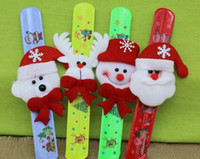 Wholesale Christmas Gift Xmas Santa Claus Snowman Toy Slap Pat Circle Bracelet Wristhand Christma Tree Decoration Ornament