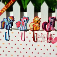 Wholesale Fashion set My Little Pony DIY Bookmarkers Mini Cartoon Paperclips Children s Learning Filing Supplies for Books Page Holder Kids Gifts