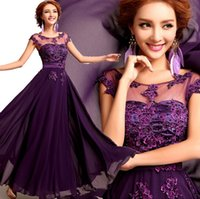 Wholesale Hot New Floor Length Chiffon Long Evening Dress Gown Fashion Lace Party Wedding Bride Formal Dresses Vestido De Festa