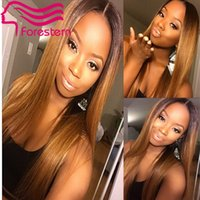 Cheap Two Tone Ombre Full Lace Wig Color1B #30 Ombre Brazilian Human Hair Wig Front Lace Wigs With Baby Hair For Black Women