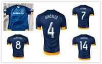 Inicio rápido Tailandia LA Galaxy DONOVAN KEANE ZARDES GERRARD GARZA Beckham camiseta de fútbol 2015 azul ausente de los jerseys