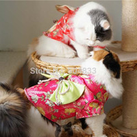 Wholesale Japan Kimono Cat Costumes Dress with Big Bow Dog Pets Cosplay Clothes Products for Puppy KittenXS XL colors