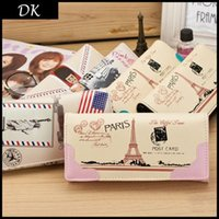 Wholesale 2015 New Arrival Womens Wallet Color Scrawl Printing Fashion Billfold Ladies Clutch Clamp For Eiffel Tower Women Coin purse