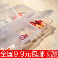 Wholesale 9 clamshell transparent small portable kit drug storage box g