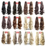 Wholesale Women s Fashion quot g Claw Pony tail Ponytail Clip In On Hair Extension Wavy Curly Style Colors