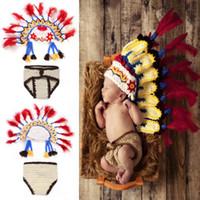 Cheap newborn Photography Prop Best Indian chief Costume