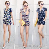 Wholesale Vogue Women Ladies Female Chiffon Short Sleeve Button Tunic Printed Short Jumpsuit Playsuit Romper Shorts Overalls Coverall