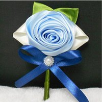 best corsage flowers - Wedding corsage Bridal Accessories The Groom Bridesmaid Corsage Blue Flower Bow Beads Pearl The Best Selling