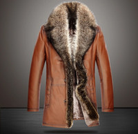 plus size dropship - High end Mens Leather Fur Coat Real Racoon Fur Collar Genuine Leather Plus Size Outerwear coats Men Dropship vb7u