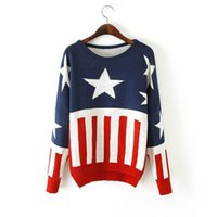 american flag knitted sweater - NEW christmas American flag sweater Japanese VIVI magazine lena New American flag printed fashion girl women knit sweater jM31